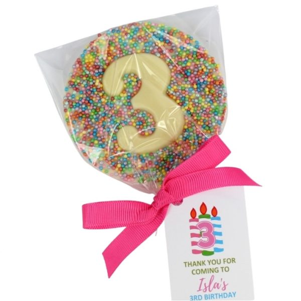 birthday party favours number lollipops